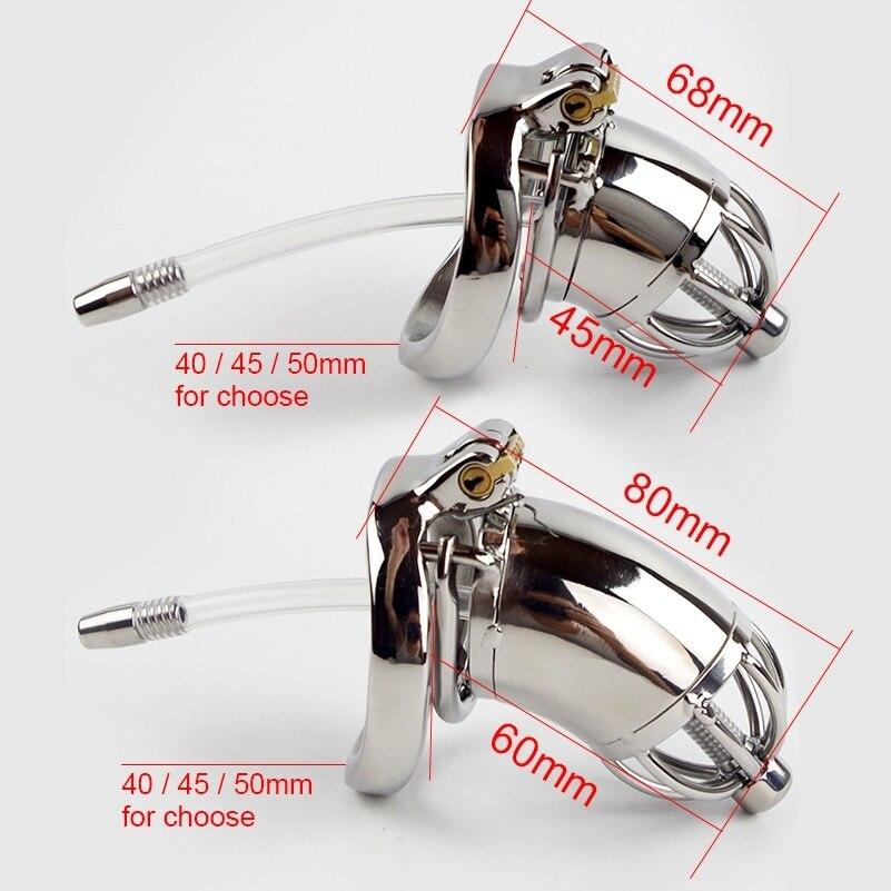 Dispositivo de Castidad de acero inoxidable 304 con cateter uretra sonido y anillo con punta S/L tamaño jaula de gallo elegir cinturón de castidad masculina