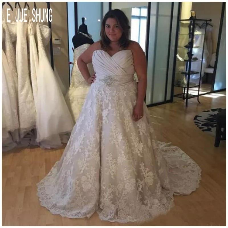 E JUE SHUNG De talla grande vestidos De Novia llamativos sin mangas...