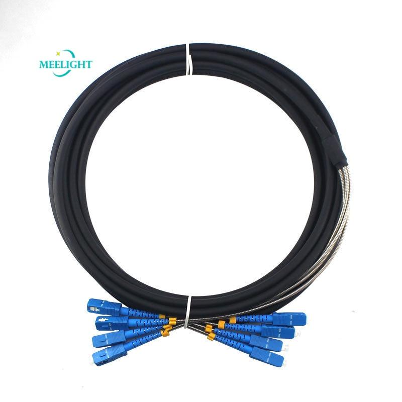 Fibra óptica TPU 10M estación Base exterior campo remoto blindado Cable 4-Core SC-SC Cable Pigtail para minería
