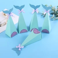 10pcs mermaid tail paper candy box wholesales gift paper packaging boxes candy bag wedding favors birthday party decorations
