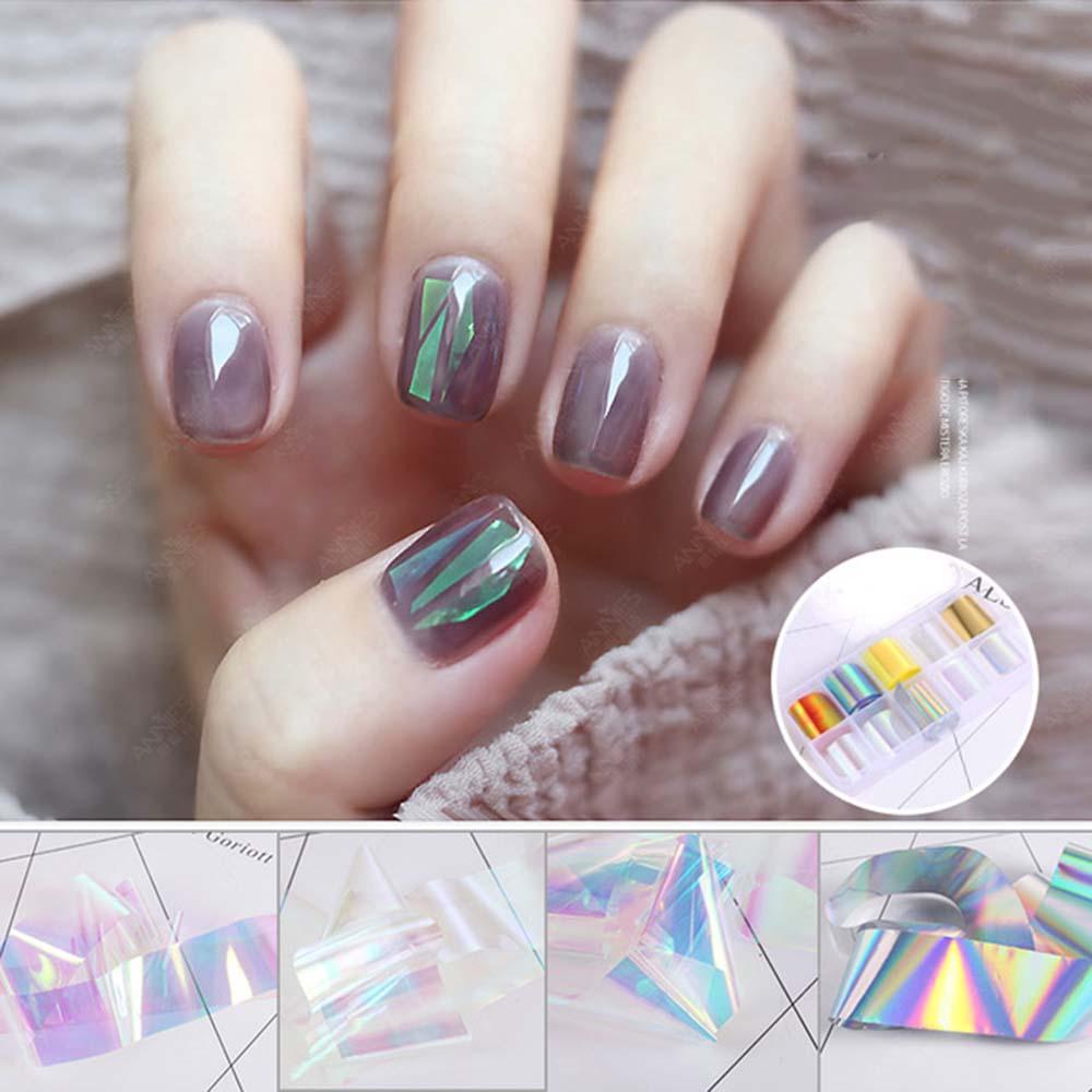 New Box Foil 3D Nail Art Decorations Stickers Decal Stick On Nails Laser Aurora Color Glass Paper De
