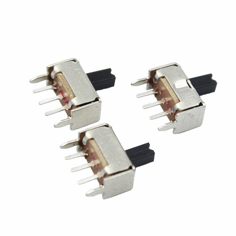 10 Uds nuevo SS12D07 Mini interruptor deslizante Vertical 1P2T interruptor de 3 pines SMD PCB DPDT interruptor Vertical