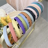 fashion hair accessories women candy colored sponge headband solid color fine edged fabric headband girl wild hair band headwear