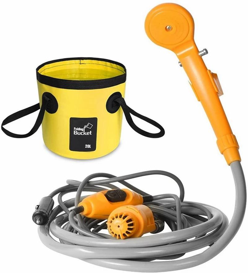 D2 12V Portable Car Washer Camping Shower High Pressure Set Electric Pump Sprayer For Outdoor Travel Pet