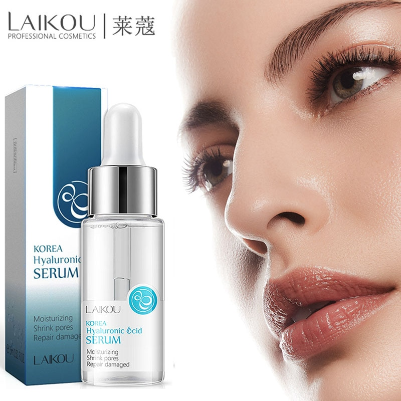 LAIKOU Hyaluronic Acid Face Serum Moisturizing Shrink pores Whitening Brightening Tighten Facial Essence liquidSkin Care 15ML laikou hyaluronic acid face serum moisturizing shrink pores whitening brightening tighten facial essence liquidskin care 15ml