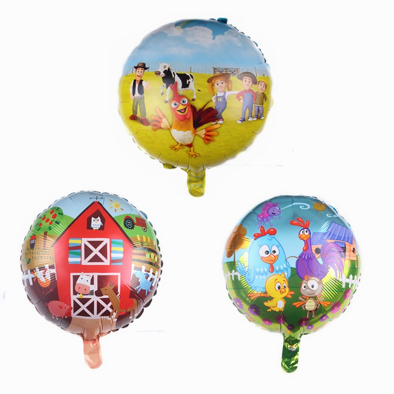 10 teile/los 45*45cm Cartoon Farm Paradies Ballon Party Dekoration Globos Weide Tiere Folie Helium Ballons Kinder Spielzeug