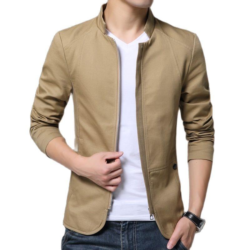 Мужская куртка, модная куртка со стоячим воротником, пальто, мужские облегающие деловые повседневные мужские куртки, Мужская одежда, одното...