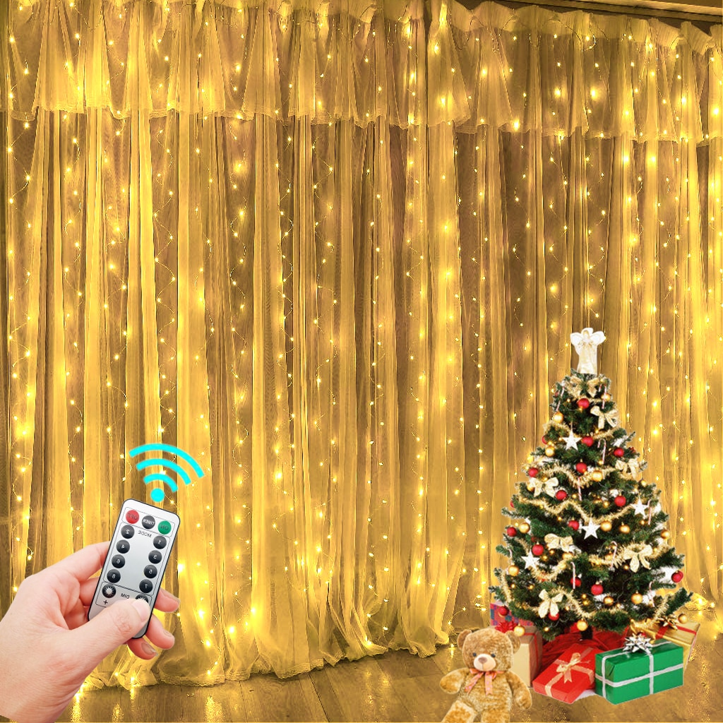 Garland Curtain for Room New Year's Wedding Christmas Lights Decorations Curtains For Home Festoon Led Light Decor Fairy Lights