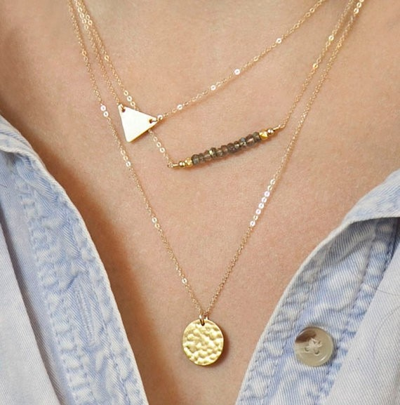Fashion Trendy 3 layers Triangle And Rounded Necklace Alloy Necklace Fashion Necklace Women Jewelry  - buy with discount