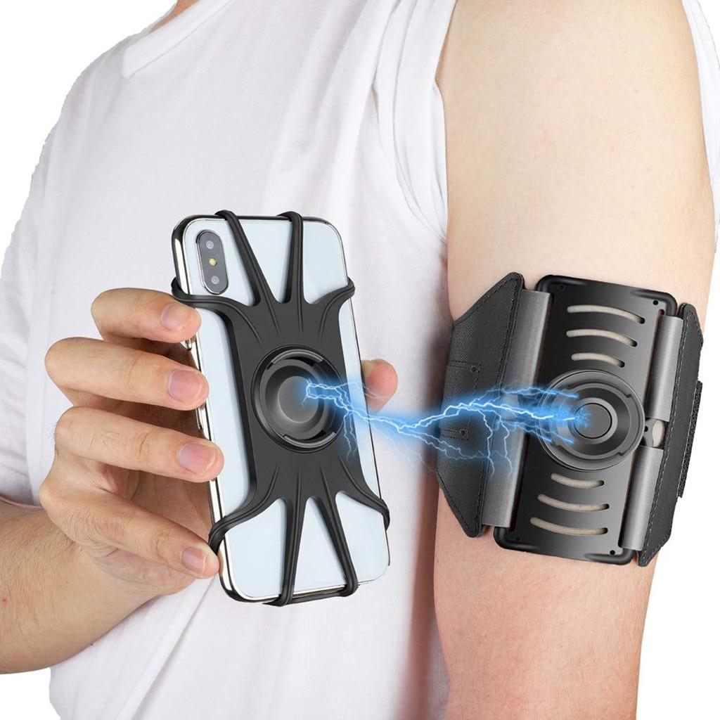 Soporte de montaje de teléfono para deportes desmontable correr brazalete soporte de teléfono celular 360°Rotatable Fit 4-6,5 pulgadas teléfono # y4