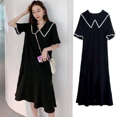 Women's Clothing Full-Figured Girls' Black Bodycon Casual Dress Elegant Korean Style Summer Wide Vestido Clothes Vintage Gothic