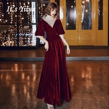 Elegant Velvet Evening Gowns For Women It's Yiiya AR446 Plus Size Robe De Soiree A Line Half Sleeve