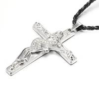 new fashion personality drape necklace for mens cross jesus guitar rhinestone pendant necklace jewelry