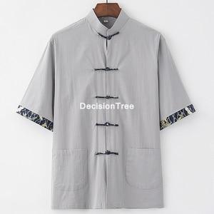 2021 traditional chinese style loose blouse fanfu clothing men vintage tang suit oriental t shirt kung fu tee tops tang shirt