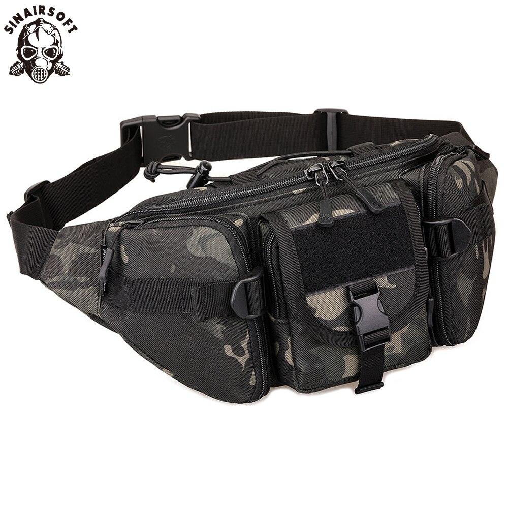Bolsa táctica SINAIRSOFT, sistema MOLLE de estilo militar, bolsa de Camping, bolsa de cintura de camuflaje impermeable, deportes de pesca para exterior, ciclismo, correr