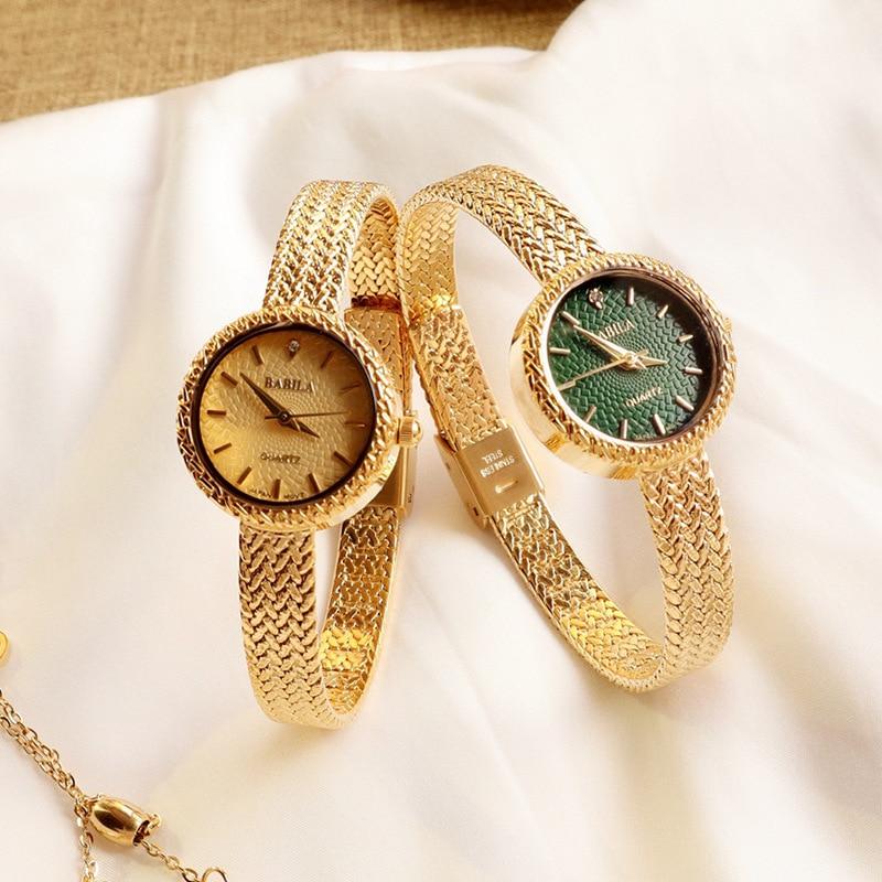 INS Retro Women Quartz Watch with Niche Fashion and Leisure Chic Emerald Watch for Women Luxury