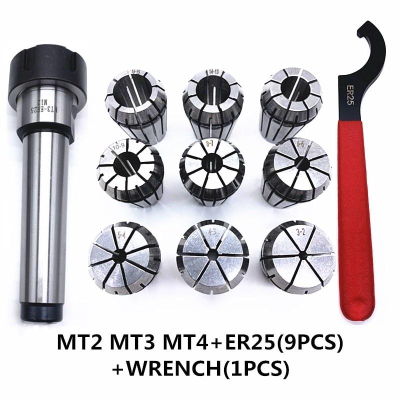 ER25 Spring Clamps 9PCS MT2 ER25 M12 1PCS ER25 Wrench 1PCS Collet Chuck Morse Holder Cone For CNC Mi