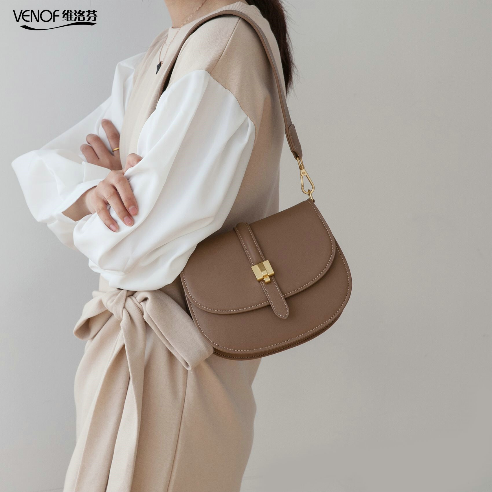 Bandoleras de piel divididas a la moda para mujeres, bolsas de sillín, bolso cruzado de famosa marca de diseñador, bolsa de mensajero color blanco café 2020