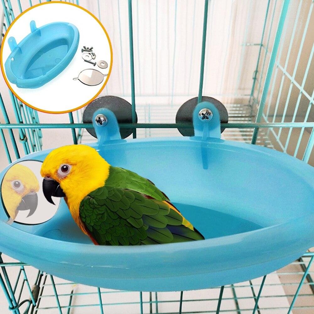 Papagei Vogel Badewanne Mit Spiegel Kleine Oval Vogel Badewanne Haustier Käfig Zubehör Dusche Bade Liefert Stehend Box Vogel Käfig Spielzeug
