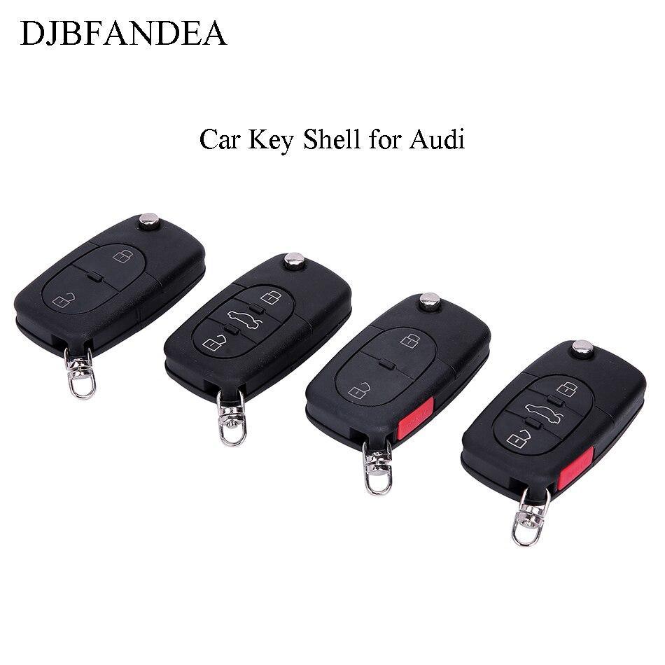 DJBFANDEA 2/3/4 botones funda para mando a distancia para Audi A2 A3 A4 A6 A8 TT CR2032 soporte de batería cubierta clave sin grabar Coche