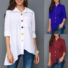 Moda mujer túnica blusa 2020 Otoño de talla grande camisa blanca de manga larga botón colorido bolsillo mujer Top ropa de talla grande