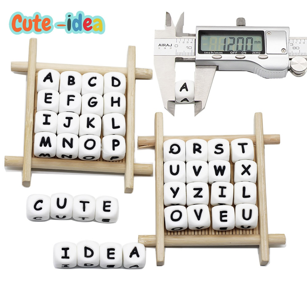 Cute-idea 1000pcs 12mm English Alphabet Silicone Letter Bead Rodent DIY Baby Teether Toy Necklace Food Grade Silicone Beads
