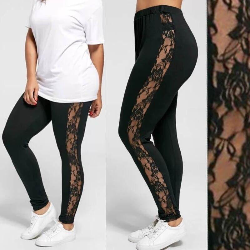 Plus Size L-3XL Sexy Women Lace Pants Black Insert Sheer Leggings Elastane Leggings
