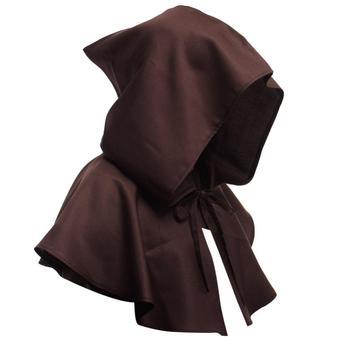 Men Women Medieval Cowl Hat Renaissance Monk Halloween Cosplay Hooded Cape