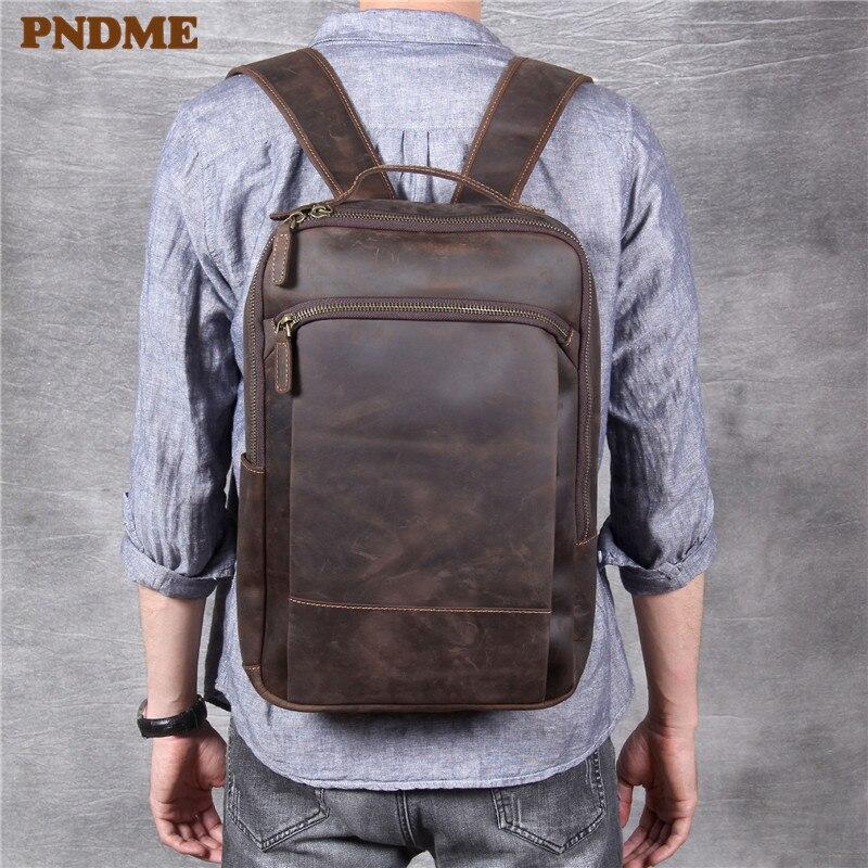 PNDME crazy horse cowhide large capacity men's women's travel backpack vintage high quality genuine leather laptop bookbags