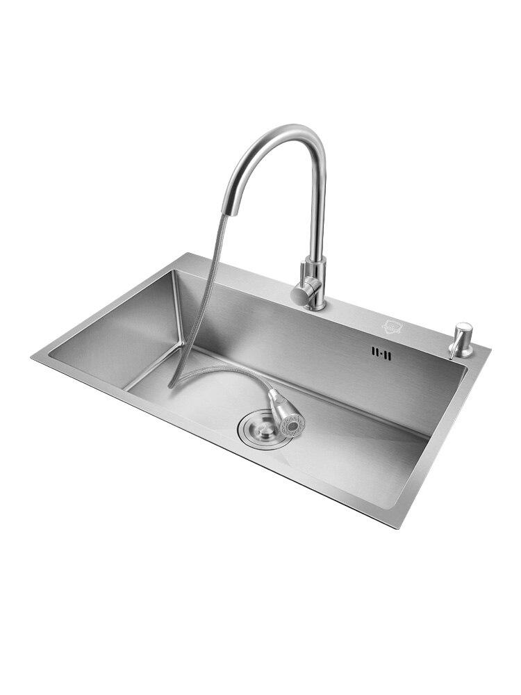 الشظية 304 حوض مطبخ ستنلس ستيل Topmount أو قطرة في وعاء واحد رمادي داكن حوض غسيل مع استنزاف الملحقات سميكة
