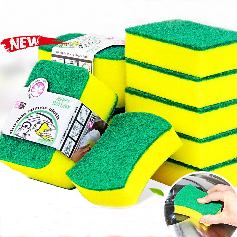 6Pcs High Density Sponge Kitchen Cleaning Tools Washing Towels Wiping Rags Sponge Scouring Pad Microfiber Dish Cleaning Cloth недорого