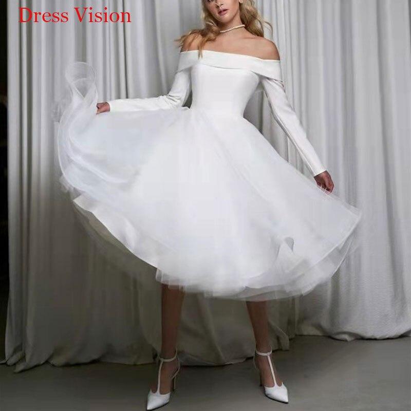 بسيطة الساتان قبالة الكتف طويلة الأكمام فستان الزفاف ثوب دي ماري العروس لتكون طويلة العروس ثوب Vestido دي نوفيا