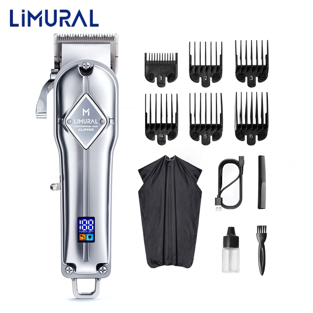 classic body grooming hair clippers shaving set haircut kit precision blade great for barbers and stylist guide combs attachment Limural Hair Clippers for Men Professional Cordless Clippers for Hair Cutting Beard Trimmer Barbers Grooming Kit Rechargeable