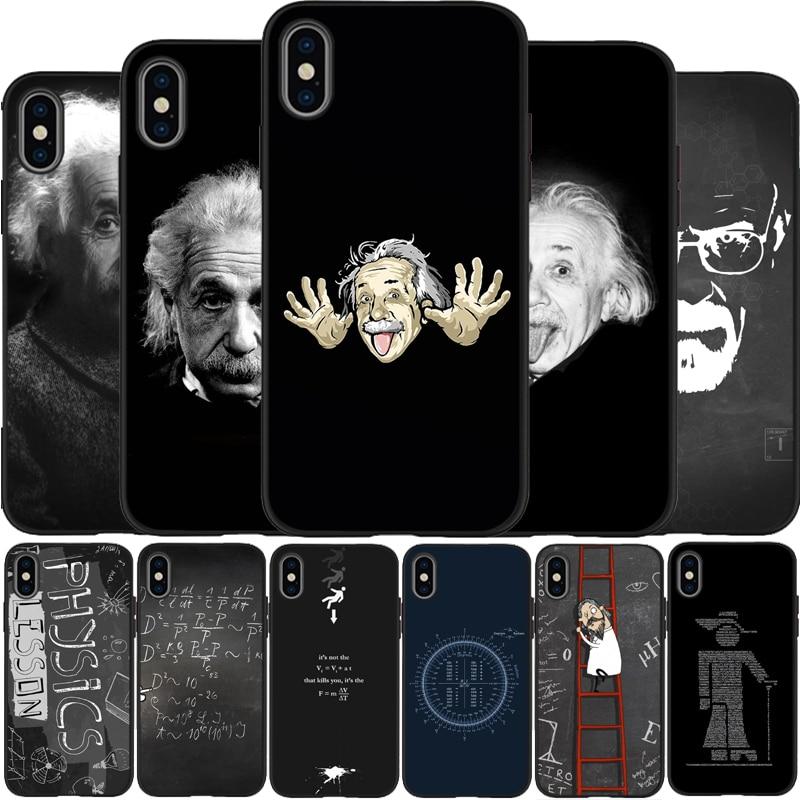 Ciência Matemática Albert Einstein Capa de Silicone Macio Caso de Telefone preto Para X XR XS Max Para iPhone 6 6plus 7 8 plus 5 5S SE