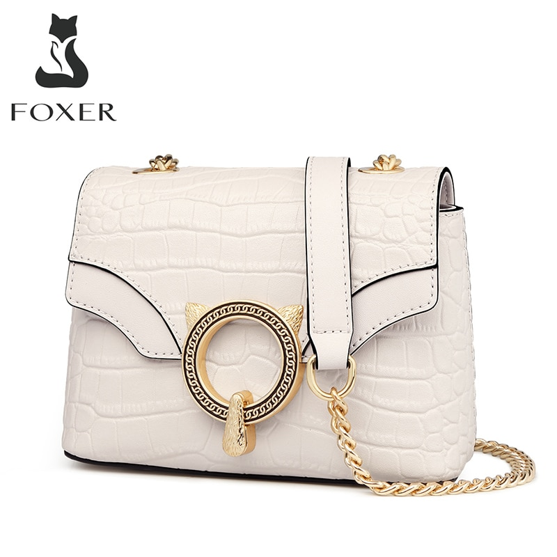 FOXER-حقيبة كتف من جلد البقر مع رفرف للنساء ، حقيبة صغيرة مربعة عصرية ، حقيبة كتف ريترو