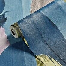 Mode personnalité coloré paon plume papier peint 3D stéréo Tv fond mur décoration de la maison