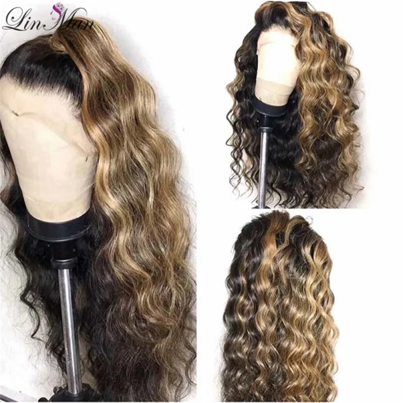 Ombre Color Curly Lace Front Human Hair Wigs With Baby Hair Pre Plucked Remy Brazilian Lace Wigs Bleached Knots maxglam lace front human hair wigs for black women straight pre plucked with baby hair brazilian remy hair natural color