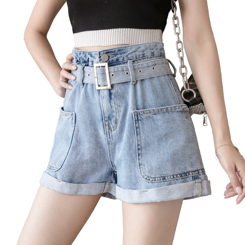 Pantalones cortos de mujer 2020 bolsillos nuevos de moda-la pierna Talle alto paño elástico cintura verano coreano Short de dénim de algodón 61C