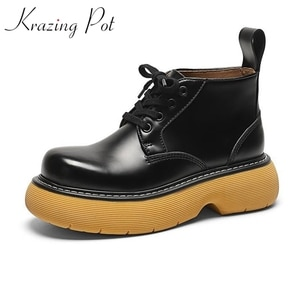 Krazing Pot cow leather rock singer thick bottom winter shoes platform motorcycle boots keep warm punk style lace up ankle boots