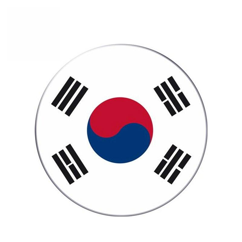 Etiqueta de bandera redonda de Corea del Sur de Aliauto, pegatina reflectante para coche, estilo impermeable para Auto Moto bici maleta portátil, 13cm * 13cm