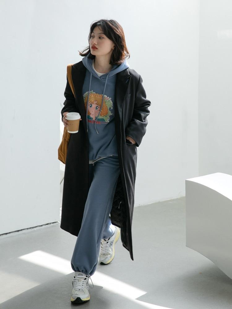 Print Hoodie Suit Sports Suit Women's Winter New Casual Pants Two-piece Set