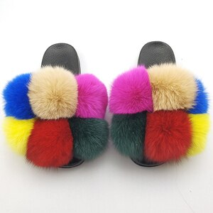 Fur Slippers Slides Women Real Whole Fox Fur Home Indoor Slides For All Seasons