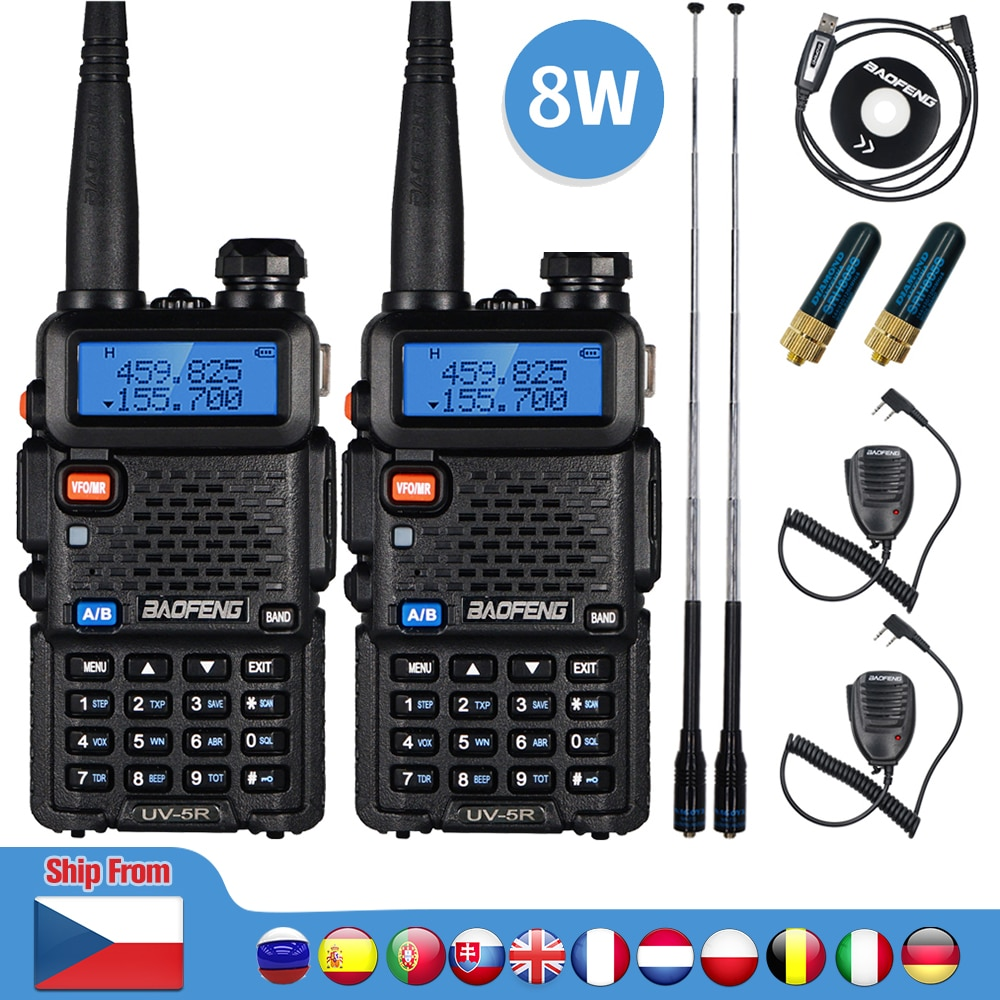 2pcs Real 8W Baofeng UV-5R Walkie Talkie UV 5R High Power Amateur Ham CB Radio Station UV5R Dual Band Transceiver 10KM Intercom