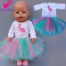 43cm 40cm Reborn Baby Doll Tutu Dress Flamingo Skirt 18 Inch Og Girl Doll Dress