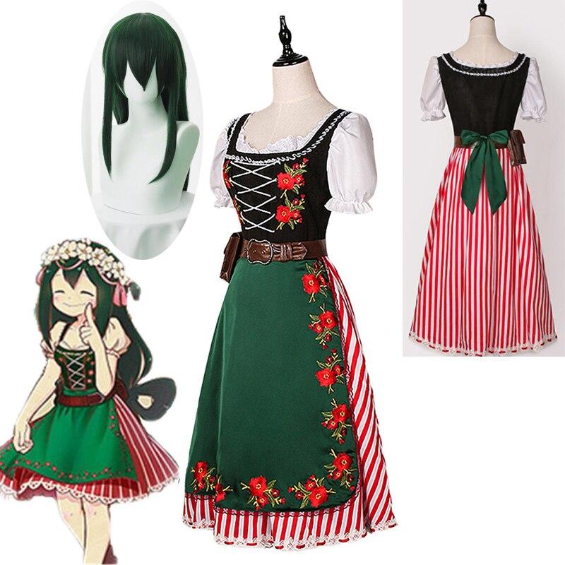 Meu herói academia tsuyu asui cosplay traje lolita vestido boku nenhum herói academia halloween cosplay trajes feito sob encomenda navio livre
