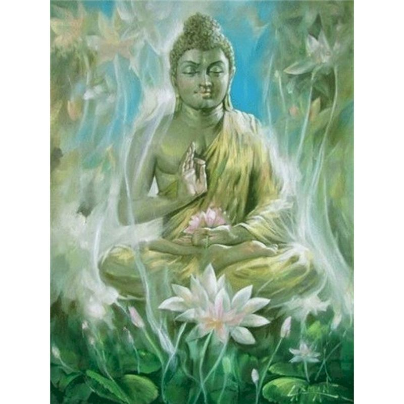 Gatyztory Frame Buddha Lotus Diy Painting By Numbers Handpainted Artwork Canvas Colouring Wall Decor 40×50
