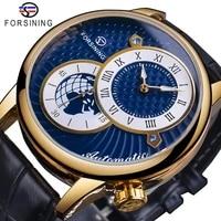 forsining blue dial men automatic watch waterproof black genuine leather band luminous hand mechanical clock sport wristwatch
