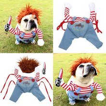 Halloween Pet Dog Cat Funny Clothes Cosplay Costumes Set Christmas Novelty Outfits With Wig Set Pet