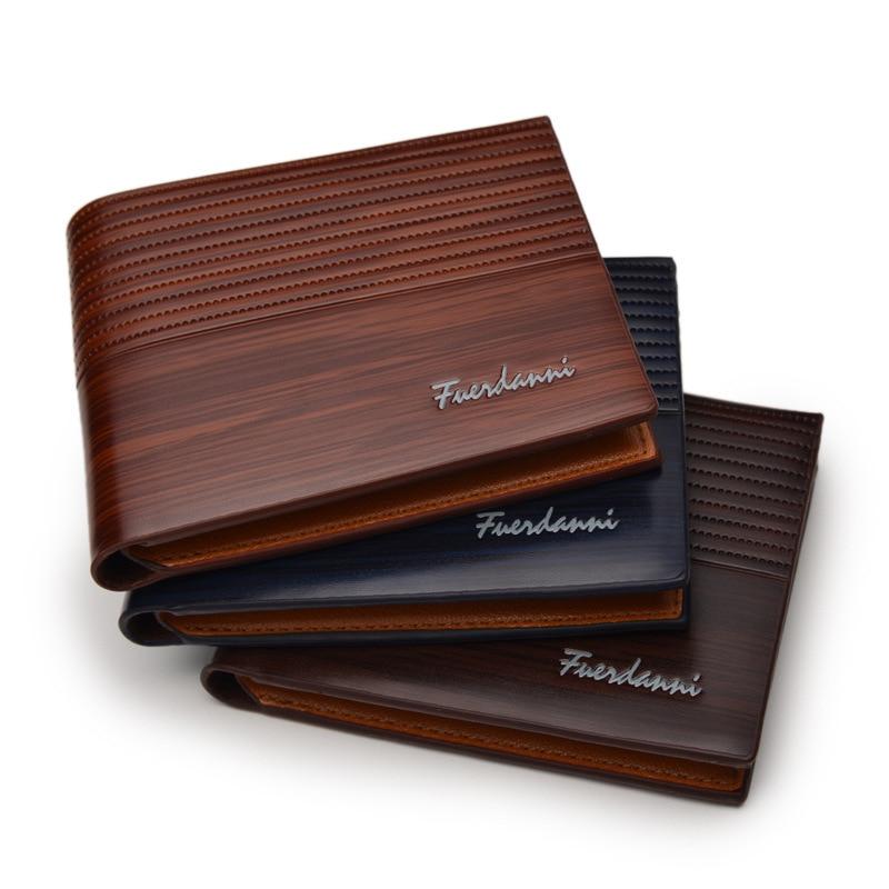 Мужские кошельки в стиле ретро, деловые тонкие короткие бумажники, кожаные кредитницы, Роскошный дизайнерский кошелек с деревянным узором