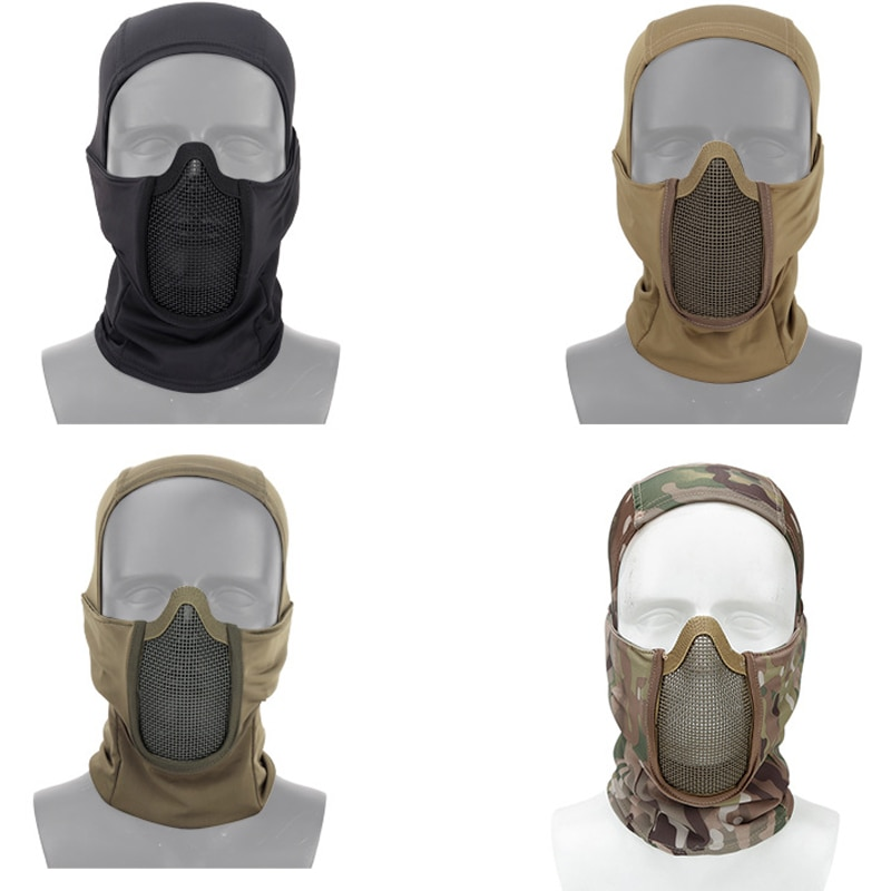 Balaclava Mesh Mask Ninja Style with Full Face Protection Tactical Full Face Mask for Motorcycle Army Airsoft Paintball Hunting